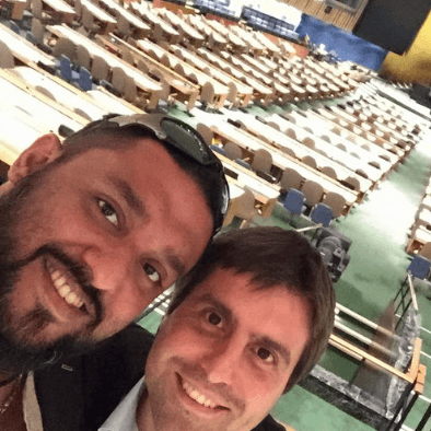 Teacher Raj takes a selfie at the UN General Assembly in New York