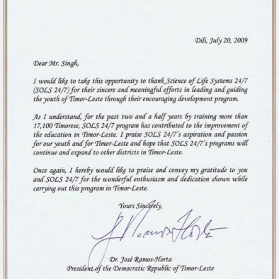 Personal letter from Dr. Ramos Horta, President of Timor Leste to TR in 2009.